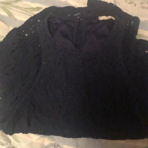 High low navy blue lace shirt